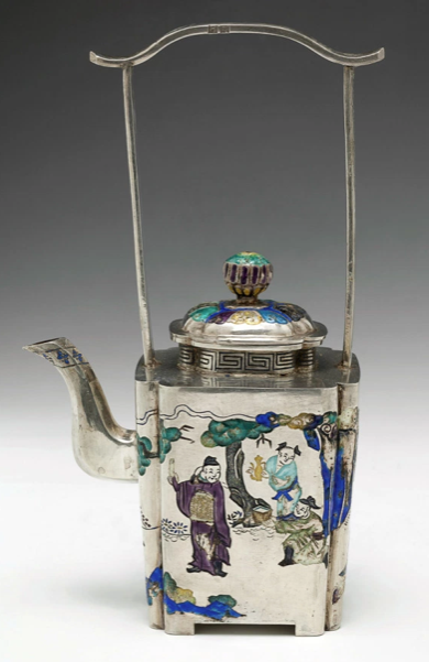 Circa 1765 Qianlong silvered enamel tea kettle