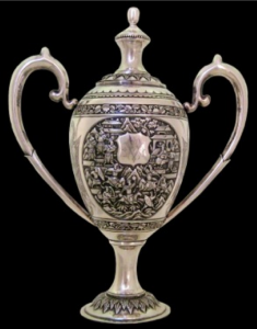 Chinese Export Silver Lidded Trophy Cup by Wang Hing