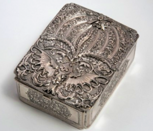Chinese Export Silver box by Qing Yun of Tientsin