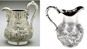 Chinese Export Silver jug by Wang Hing and a Tiffany Jug