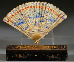 Cutshing Cloisonne and Silver Fan Early 19th Century