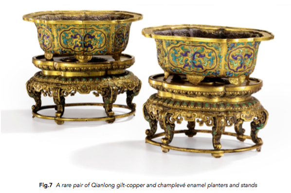 Pair of Qianlong gilt-copper and champleve enamel planters
