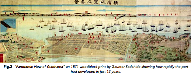 """Panoramic View of Yokohama"" an 1871 woodblock print by Gaunter Sadahide showing how rapidly the port had developed in just 12 years."