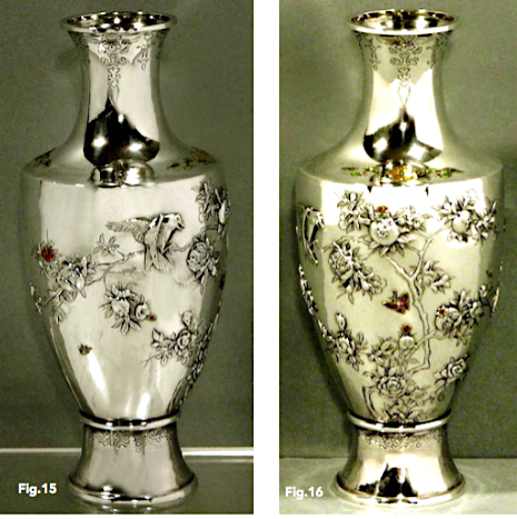 Musashiya vase with applied enamel